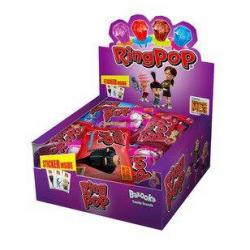 Γλειφιτζούρι Ring pop + minios sticker disp 24τεμ