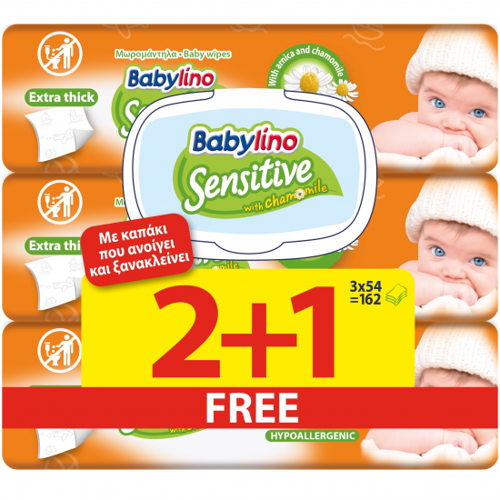 Μωρομάντηλα Babylino Sensitive 54τεμ (2+1Δώρο) Με LID