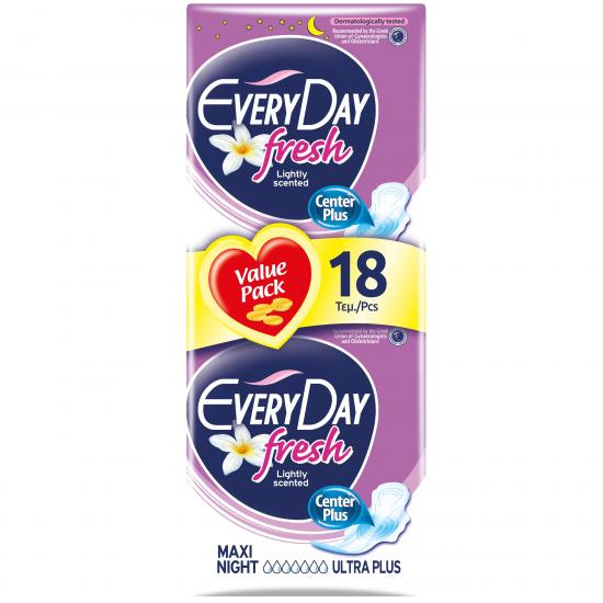 Σερβιέτα EveryDay Fresh Ultra Plus Maxi Night Economy 18 ΤΕΜ