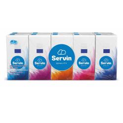 Servin quality χαρτομάντηλα 3 φυλλών τσέπης 10 πακέτων