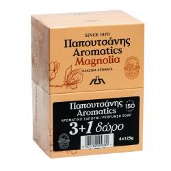 Σαπούνι Papoutsanis aromatics Magnolia 125γρ. (3+1Δώρο)